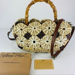 PATRICIA NASH NWOT Palmarola Straw Leather Satchel